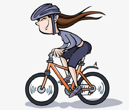 A girl riding bike. Cycle clipart