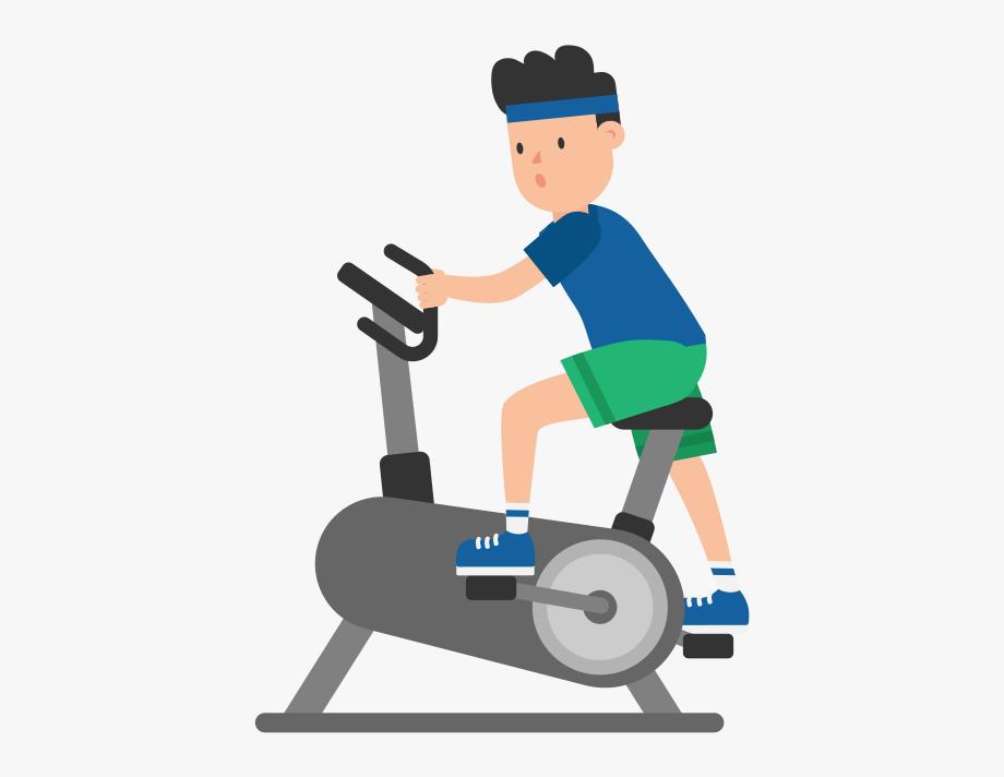 Exercising clipart exercise bike. Man on an cartoon