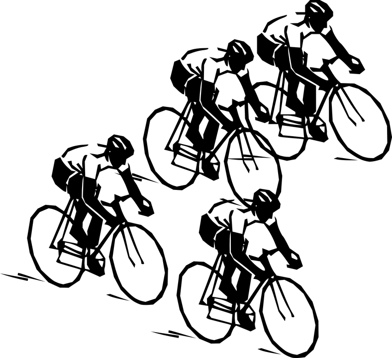 Cycle clipart cycling sport. Group of cyclists riding