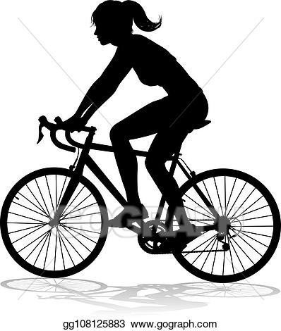 Vector illustration woman bike. Cycle clipart female cyclist