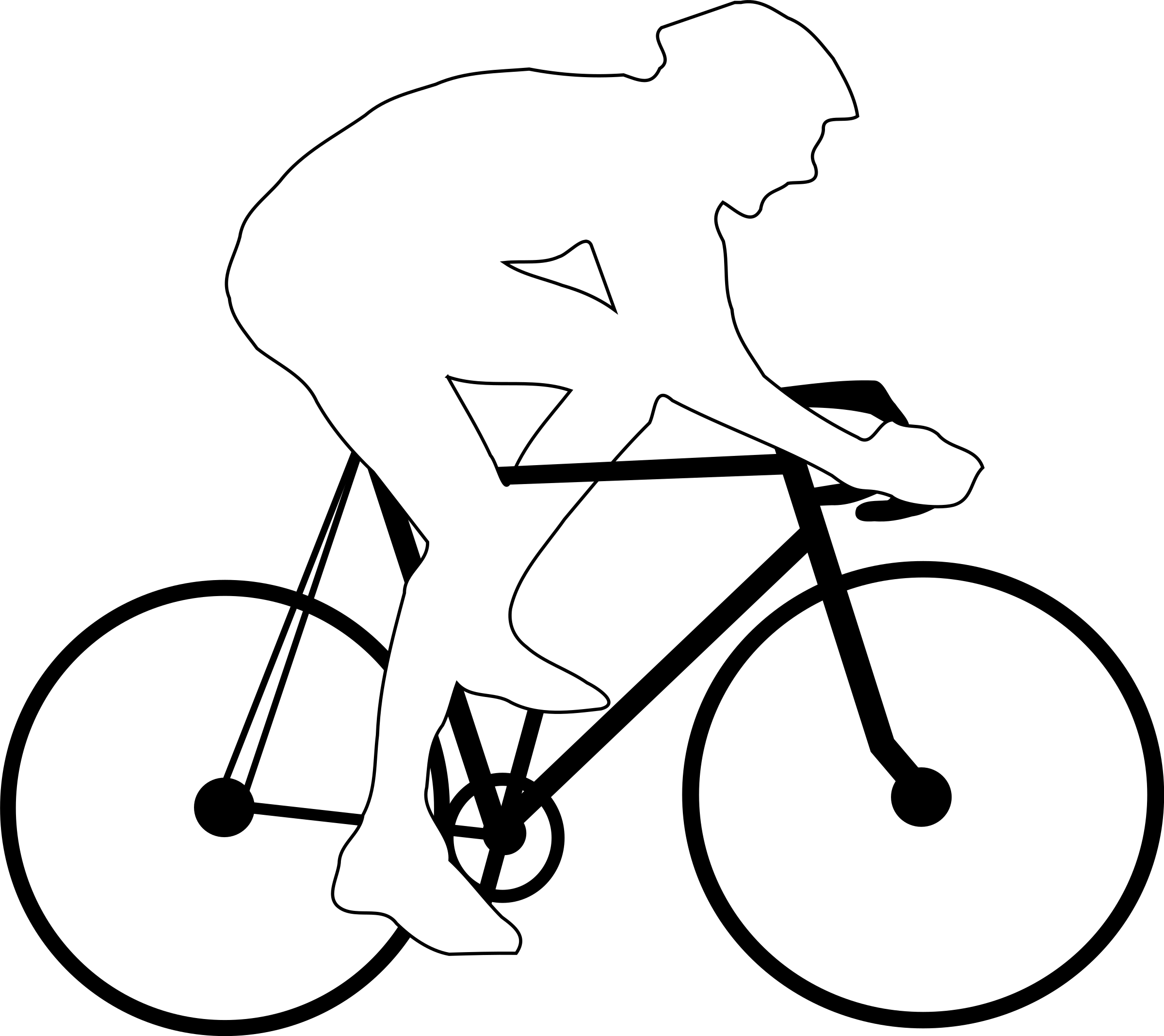 Cyclist silhouette big image. Cycling clipart outline