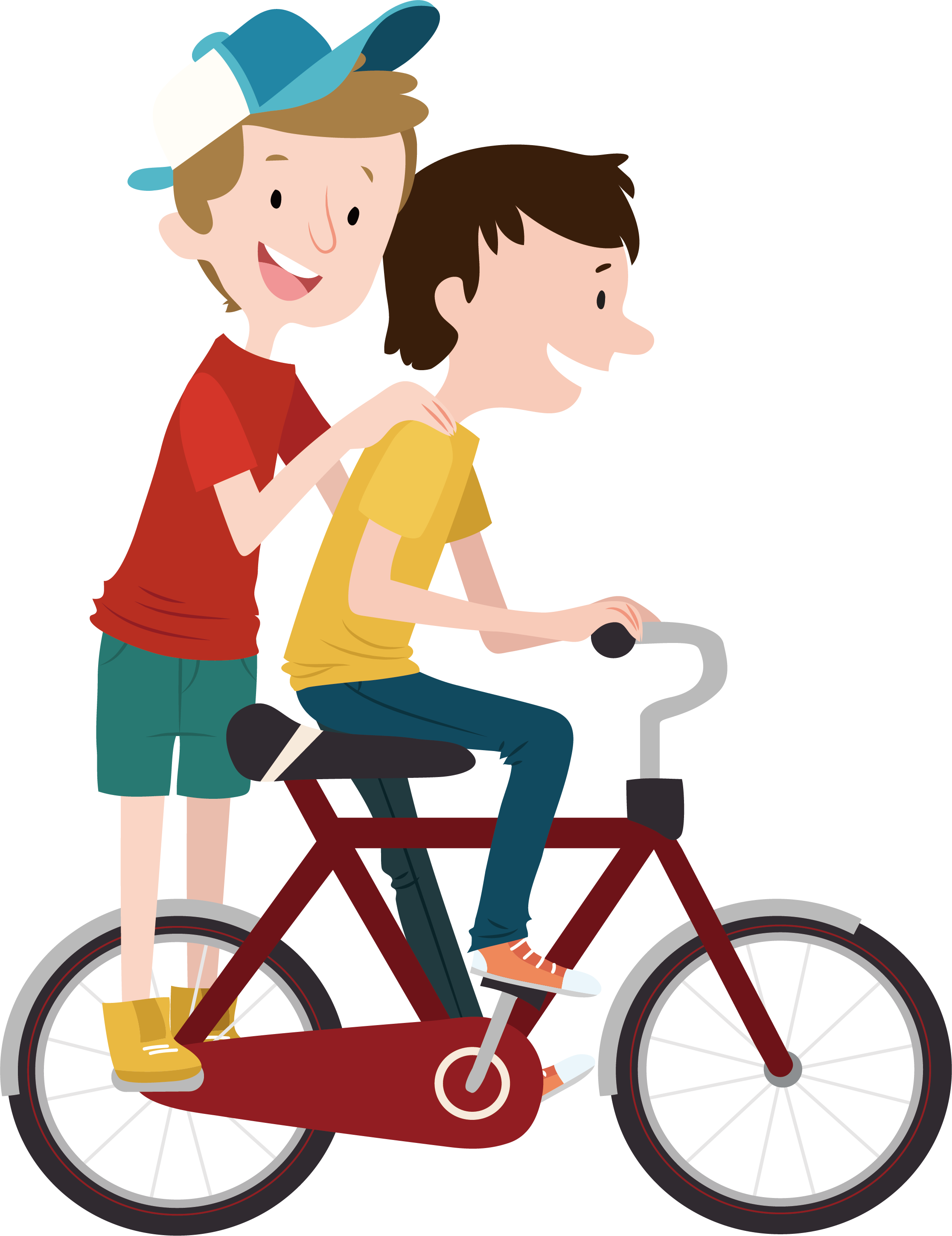 Young clipart young brother. Bicycle child cycling during