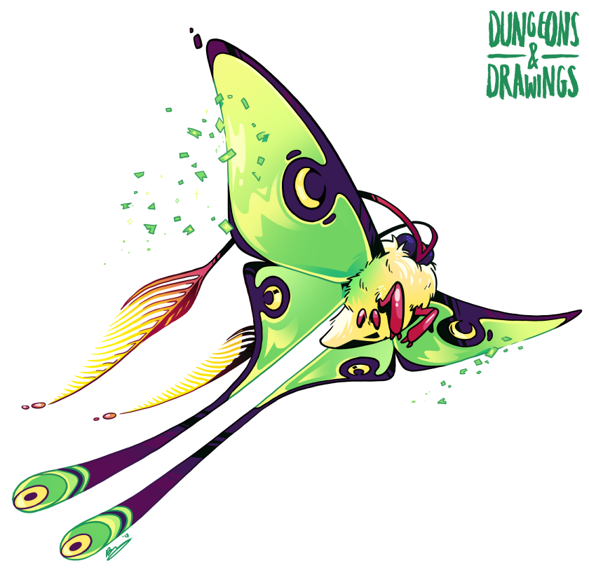 Moth clipart luna moth. Dungeons and drawings