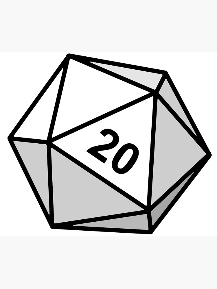 White d sided die. D20 clipart flat
