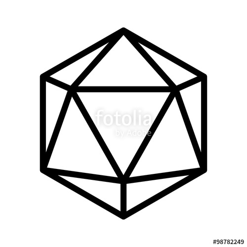 sided d dice. D20 clipart flat