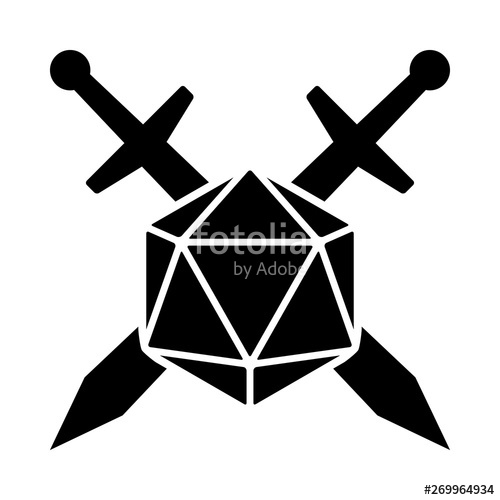 D20 clipart flat. Swords crossed with sided