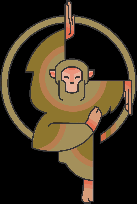 Cartoon monkey big image. D20 clipart stylized