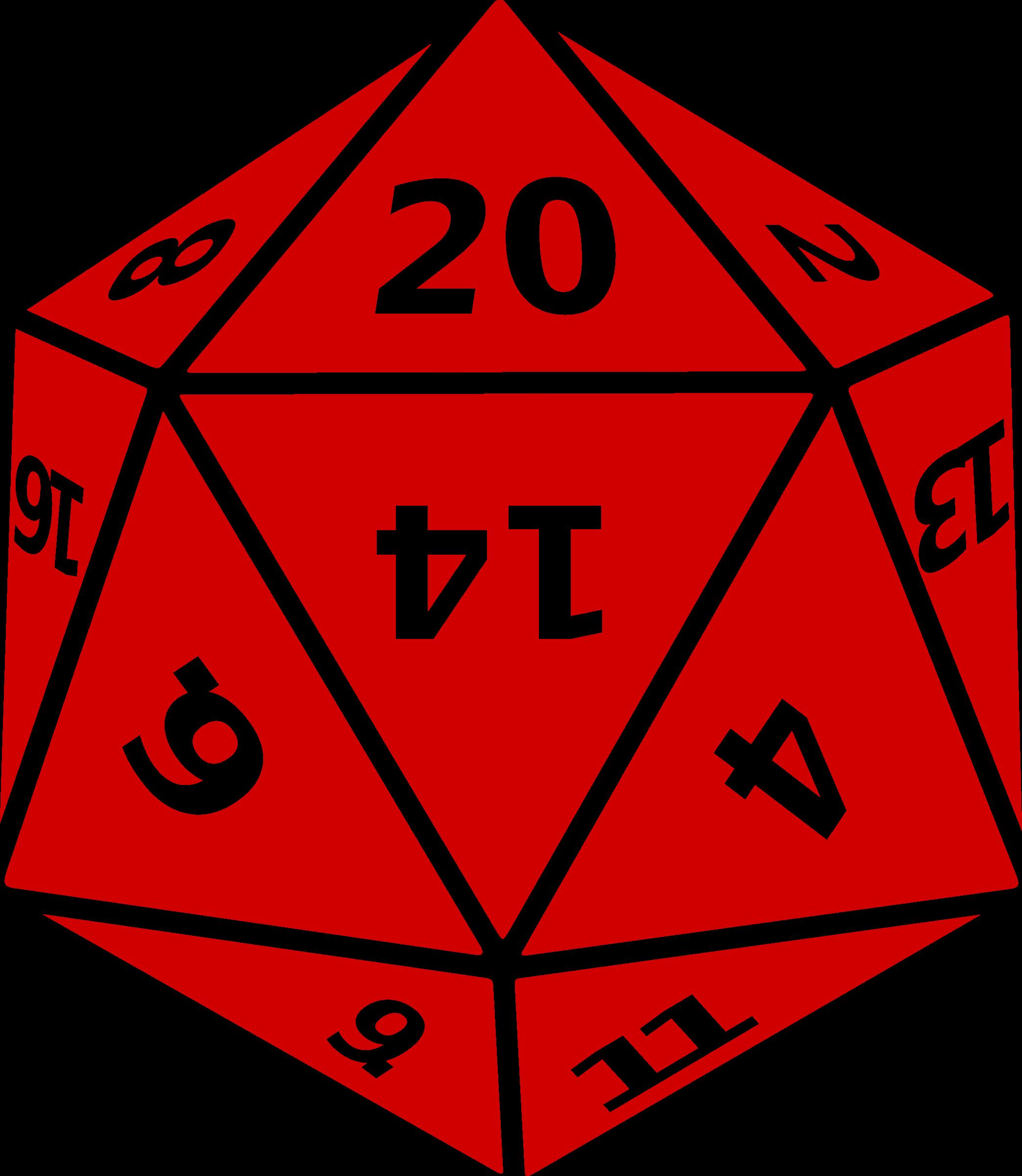 Twenty sided dice big. D20 clipart transparent