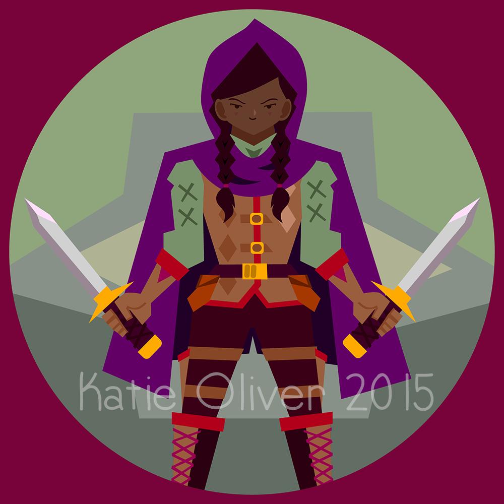 Female halfling art token. D20 clipart vector