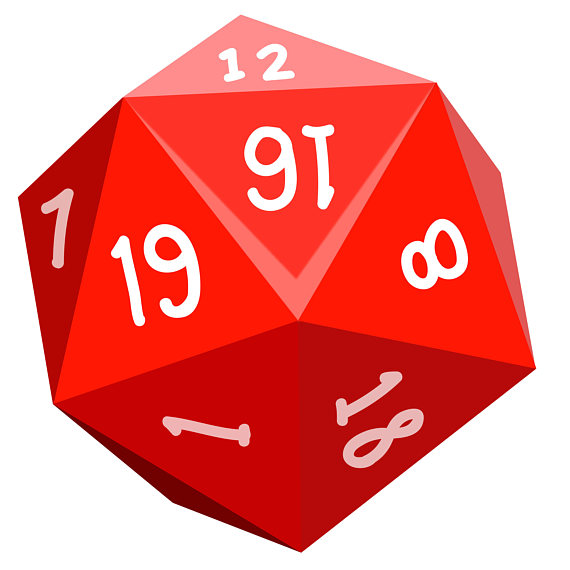 Gaming dice game icons. D20 clipart