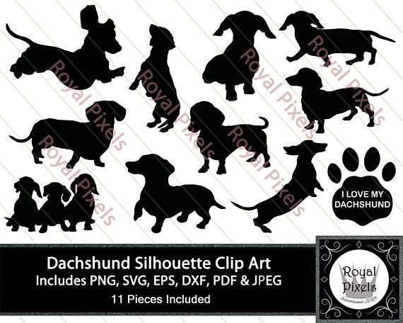 Silhouette clip art set. Dachshund clipart
