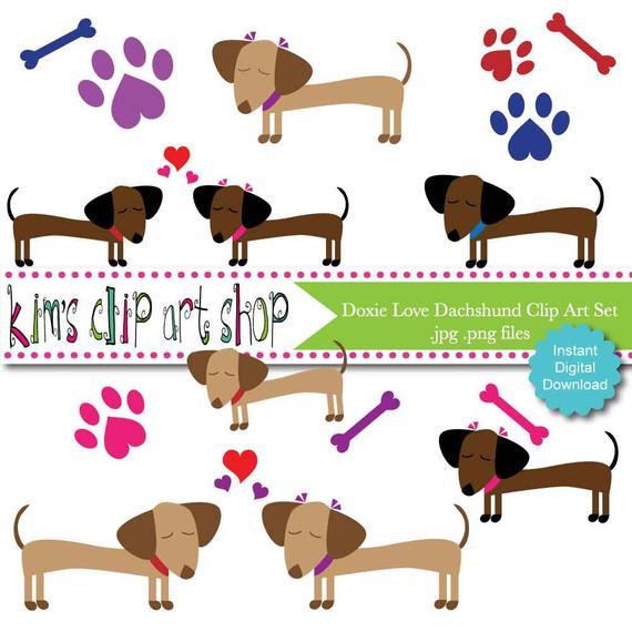 Doxie clip art set. Dachshund clipart dachshund love