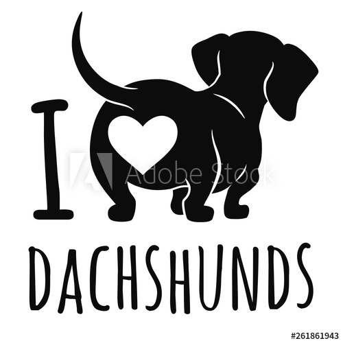 Dachshund clipart dachshund love. Cute dog vector illustration