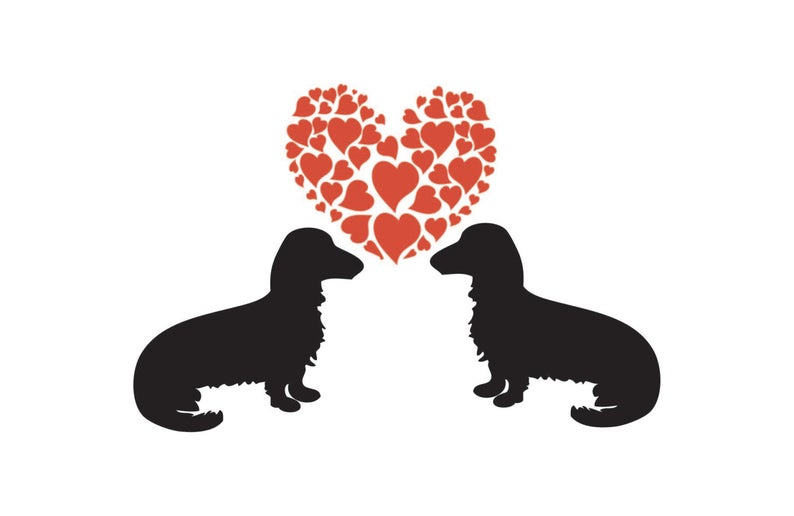 Longhaired dachshunds valentine s. Dachshund clipart i heart