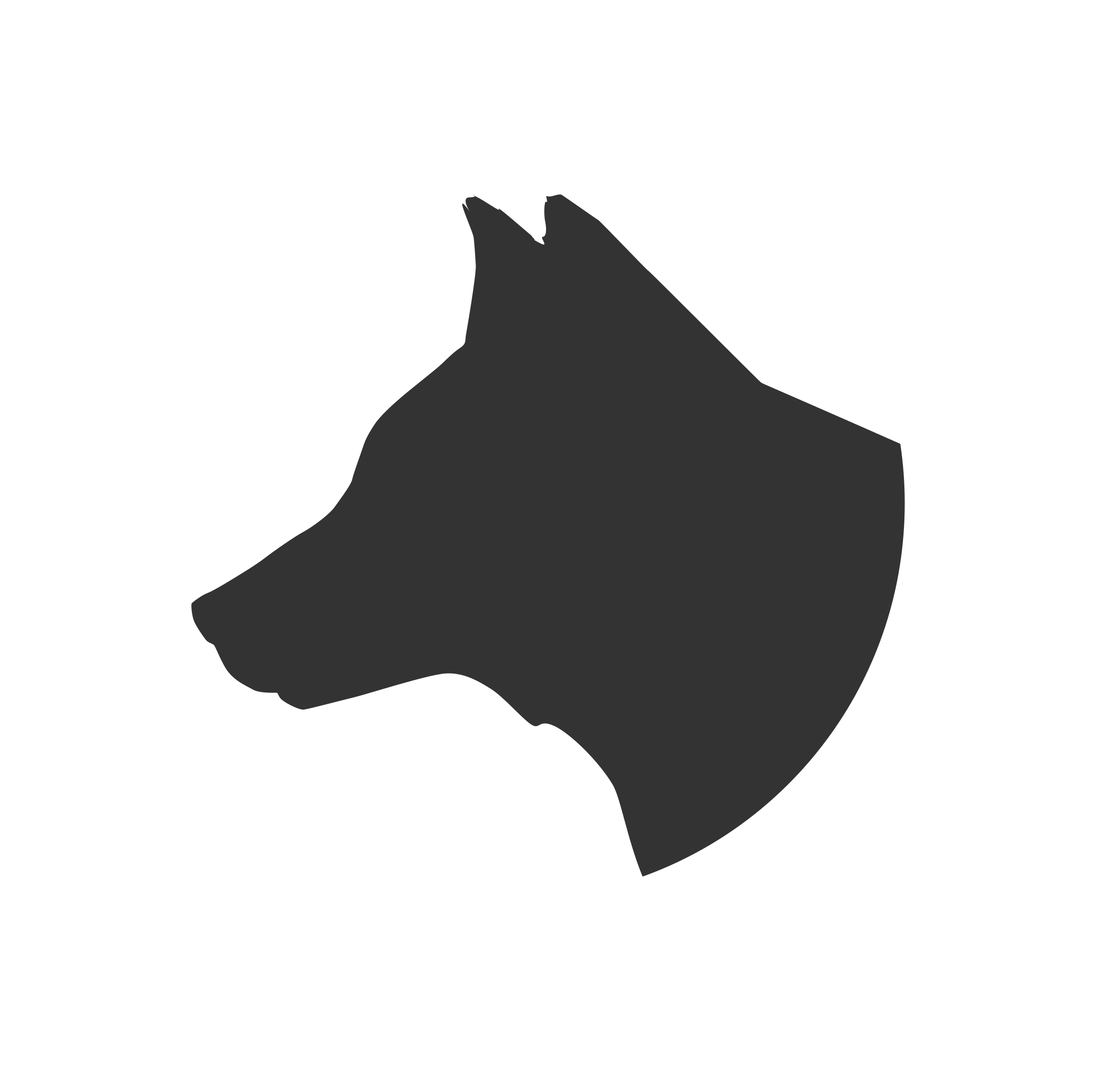 Dog profile silhouette at. Dogs clipart head