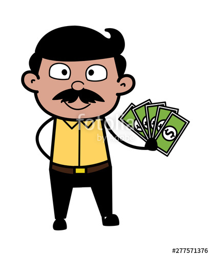 Showing money cartoon man. Dad clipart father indian