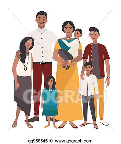Dad clipart father indian. Vector art large family