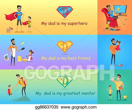 Dad clipart friend. Vector super with his