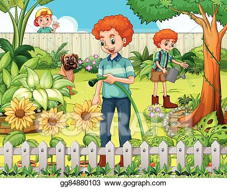 Vector stock father and. Gardener clipart family