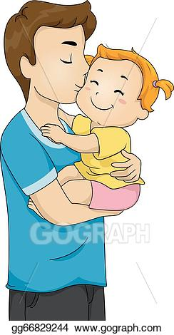 Eps vector father and. Kiss clipart baby kiss