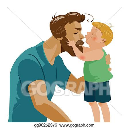 Vector kissing his dad. Son clipart hug daddy