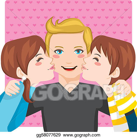 Vector stock kissing dad. Father clipart illustration
