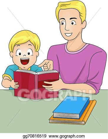 Dad clipart read with dad. Vector art father and