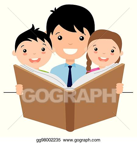 Dad clipart read with dad. Eps illustration reading a