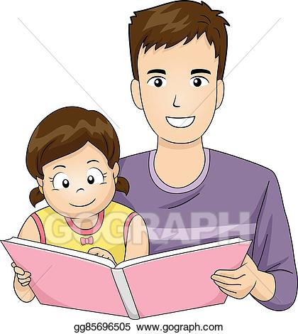 Father clipart read with dad. Vector illustration family book
