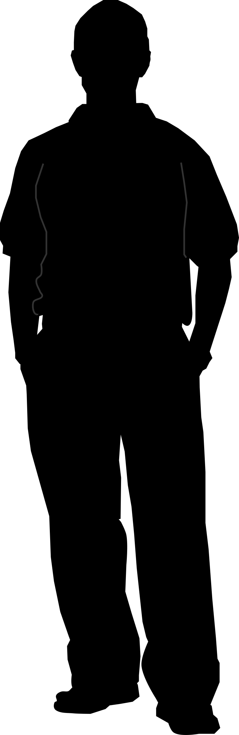 Dad clipart standing alone. Male silhouette at getdrawings