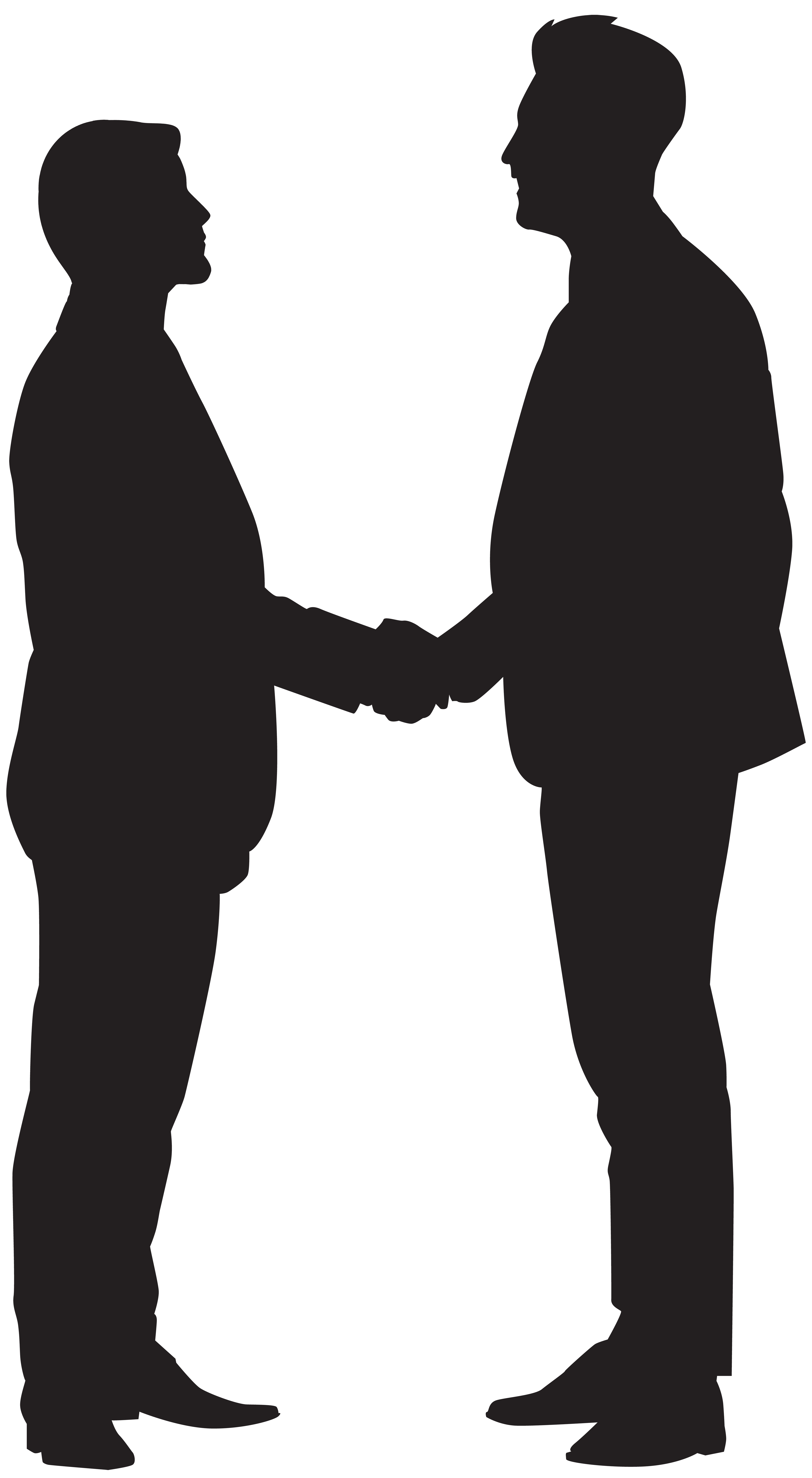 Professional clipart handshake. Male silhouette standing at