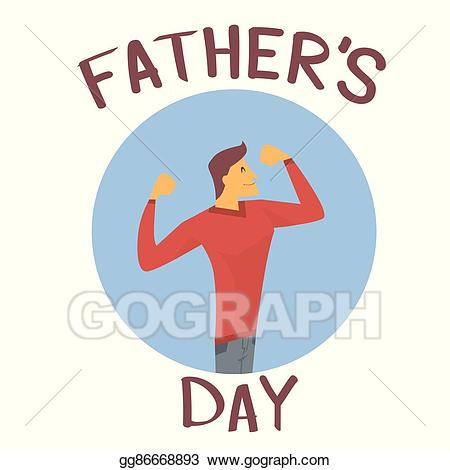 Vector art father day. Dad clipart strong