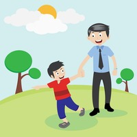 Father clipart walking. Free cliparts download clip