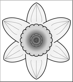 Daffodil clipart head. Clip art grayscale i