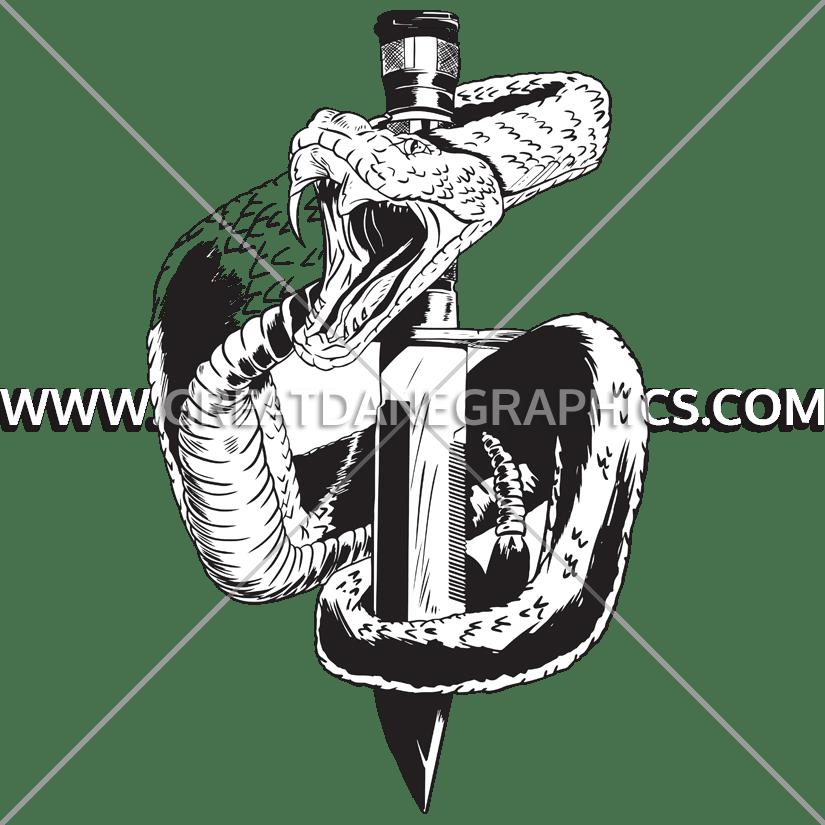 Snake production ready artwork. Dagger clipart black and white