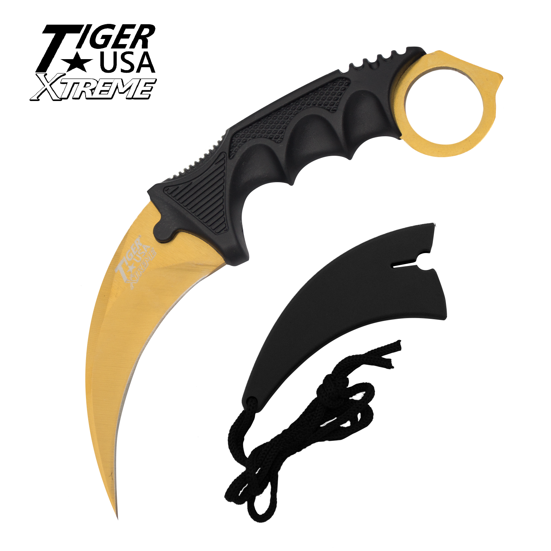 Knife clipart fancy. Karambit ranger gold fixed