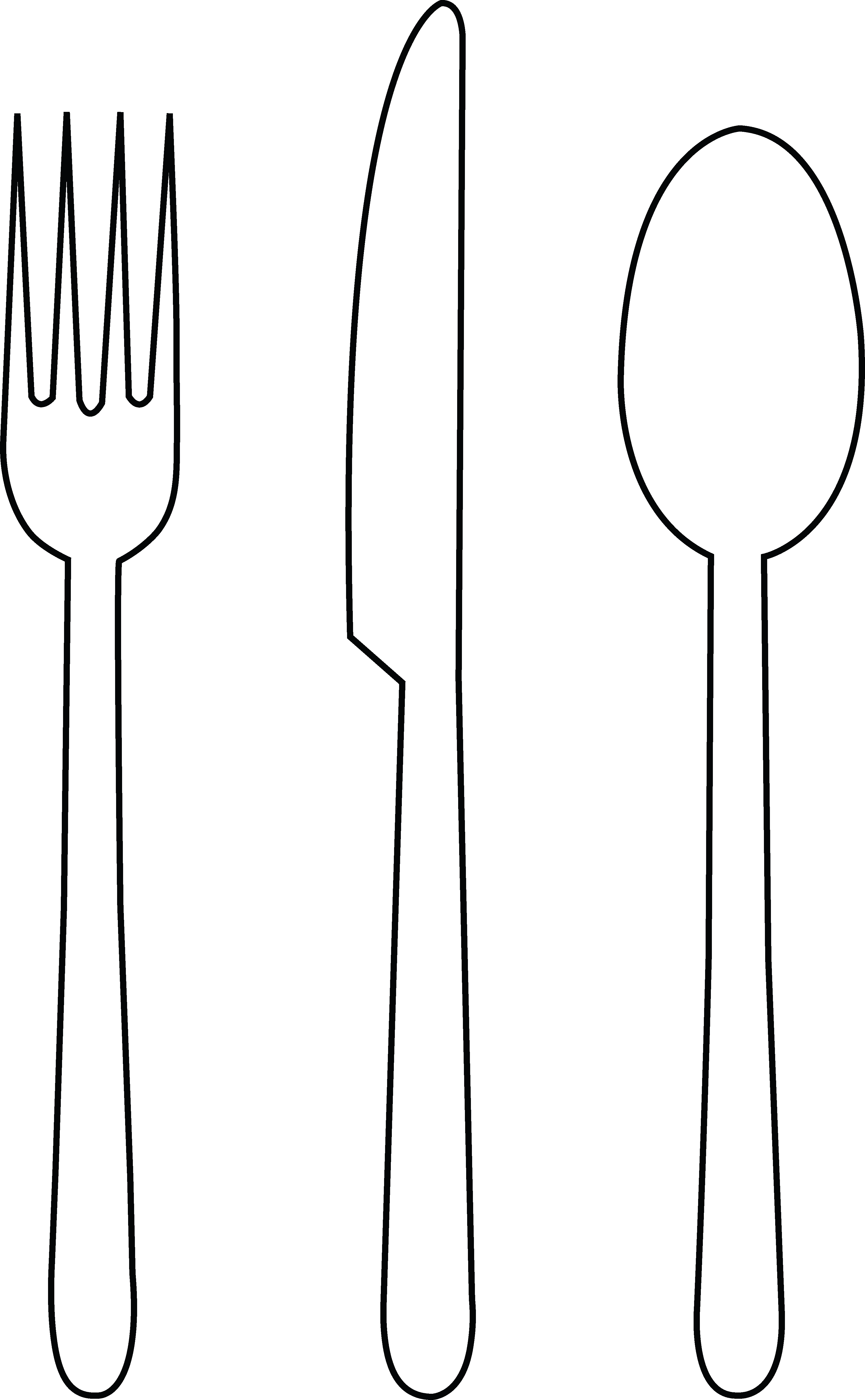Knife black and panda. White clipart spoon