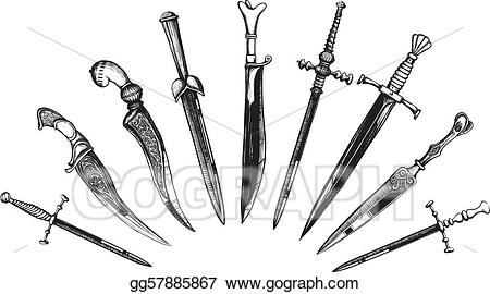 Dagger clipart woodcut. Vector stock set of