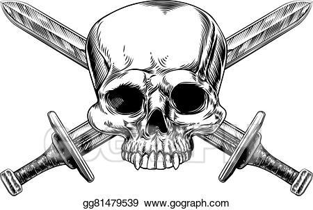 Vector art skull and. Dagger clipart woodcut