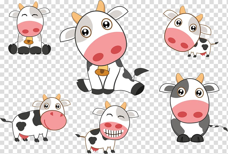 Dairy clipart animated. Six cows illustration holstein