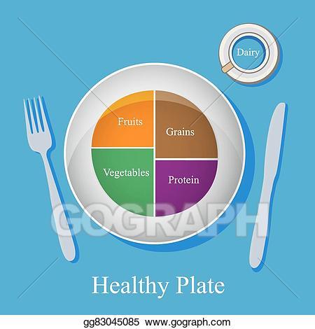 Vector illustration healthy concept. Grains clipart plate