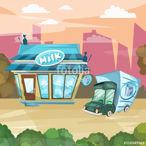 Milk shop cartoon facade. Dairy clipart dairy store