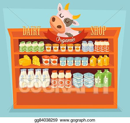 Dairy clipart dairy store. Stock illustration products on