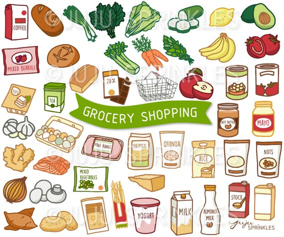 Grocery vegetable illustrations . Dairy clipart food supermarket