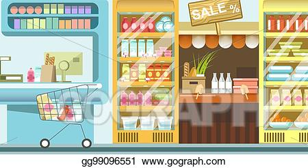 Dairy clipart food supermarket. Eps vector with full