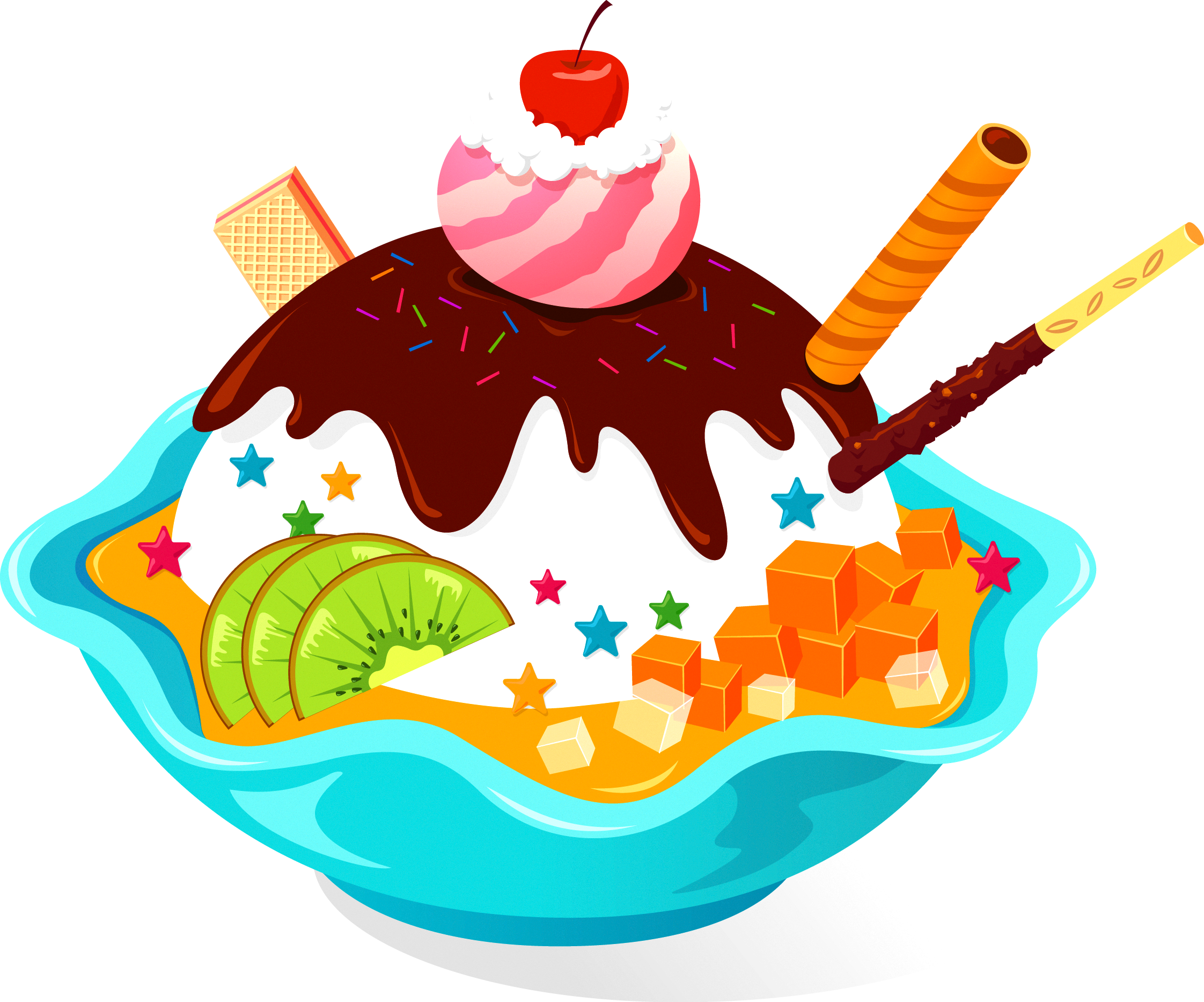 Cake cone cupcake. Dessert clipart banana split ice cream