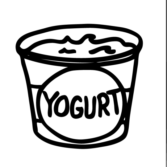 Free coloring pages of. Yogurt clipart black and white
