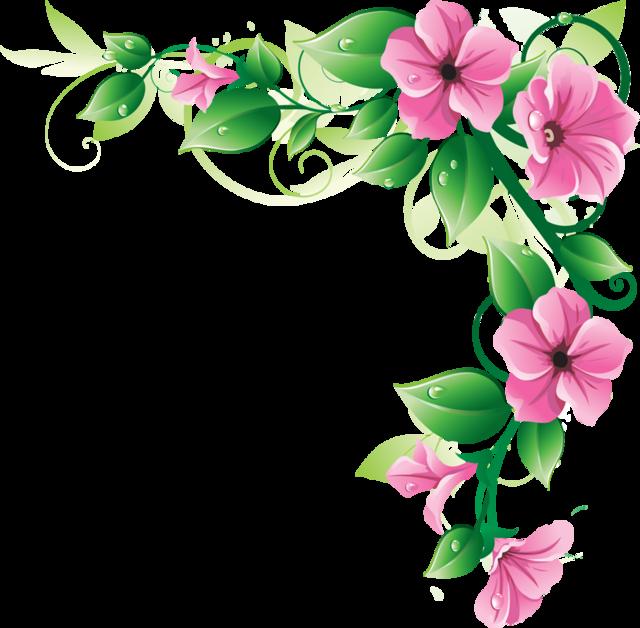 Boarder clipart floral. Pink flower border clip