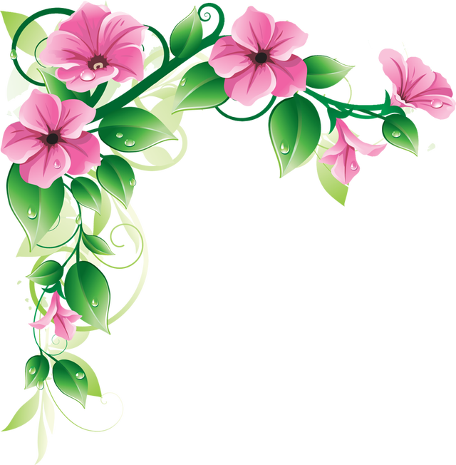 Green and purple flowers. Daisies clipart corner