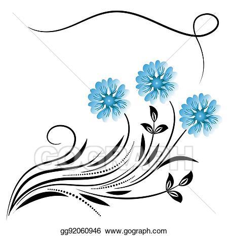 Daisies clipart corner. Vector art decorative floral